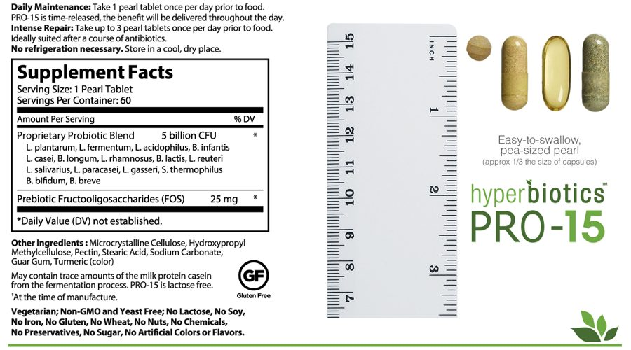 Hyperbiotics PRO-15 supplements facts