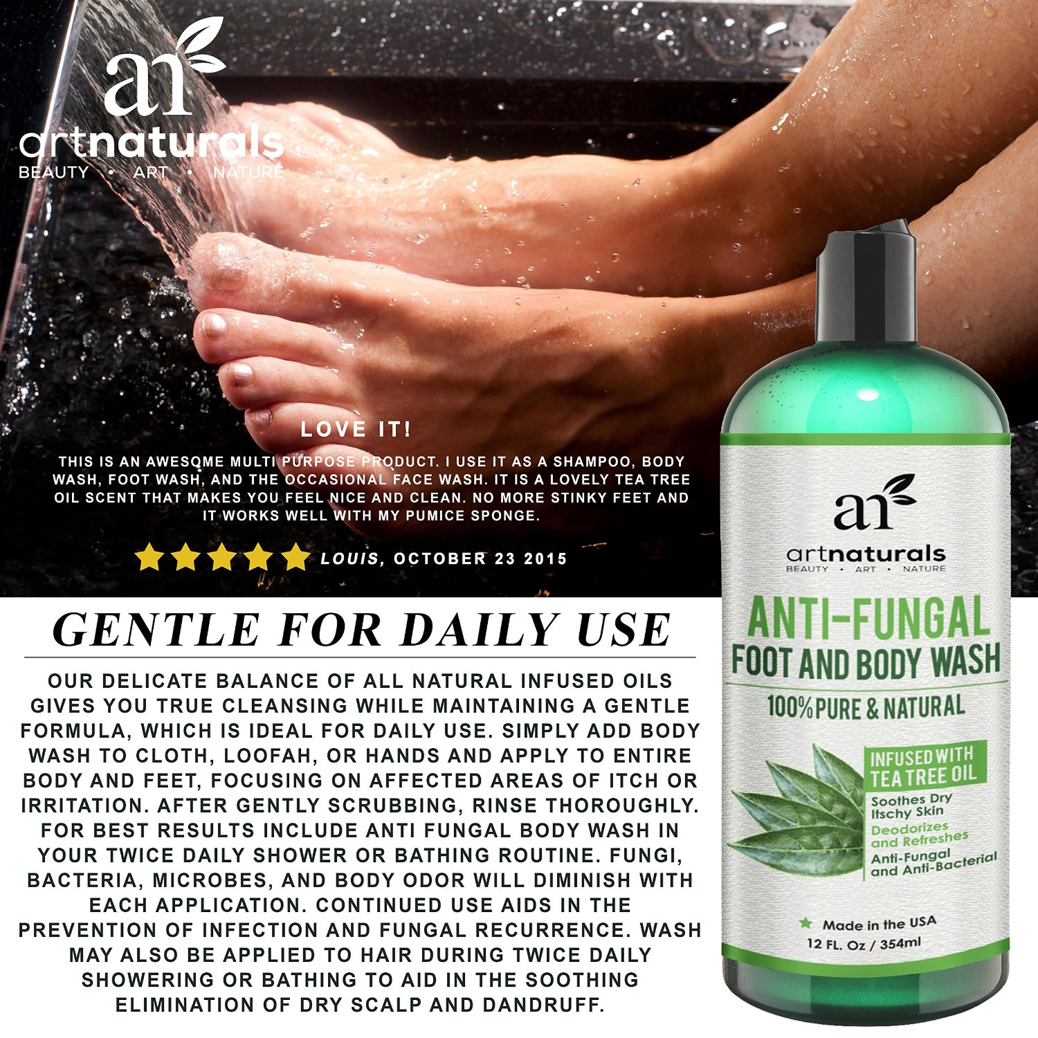 Artnaturals Body and Foot Wash daily use