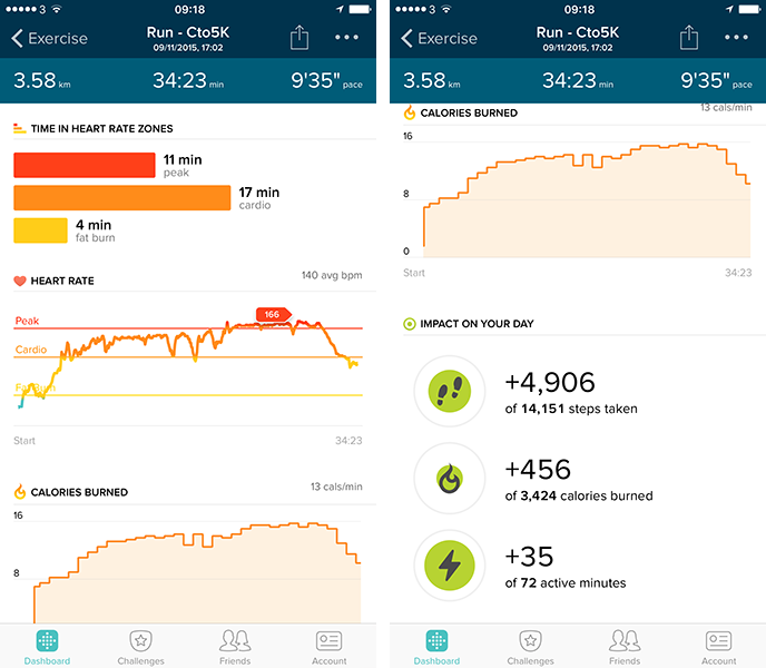 Fitbit Charge HR Exercise mode