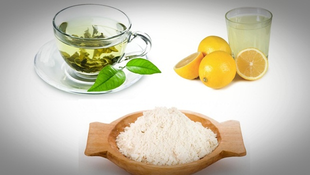 Rice Flour with Green Tea and Lemon Juice